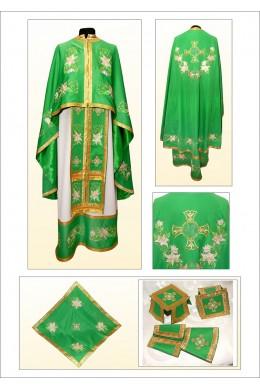 Облачення для церкви з вишивкою ФГ27 зелене з білою лілією фото