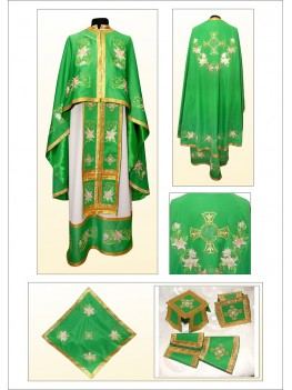 Облачення для церкви з вишивкою ФГ27 зелене з білою лілією