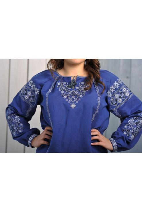 Блузка жіночаа вишита синя 1903