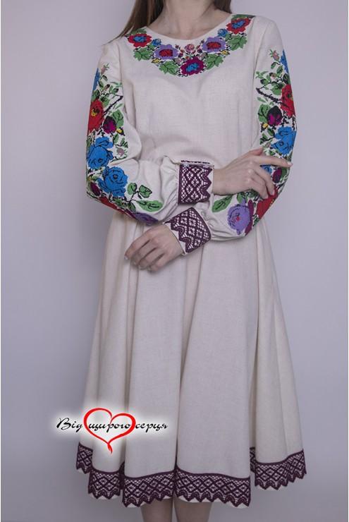 Плаття жіноче вишите яскраві квіти 1951