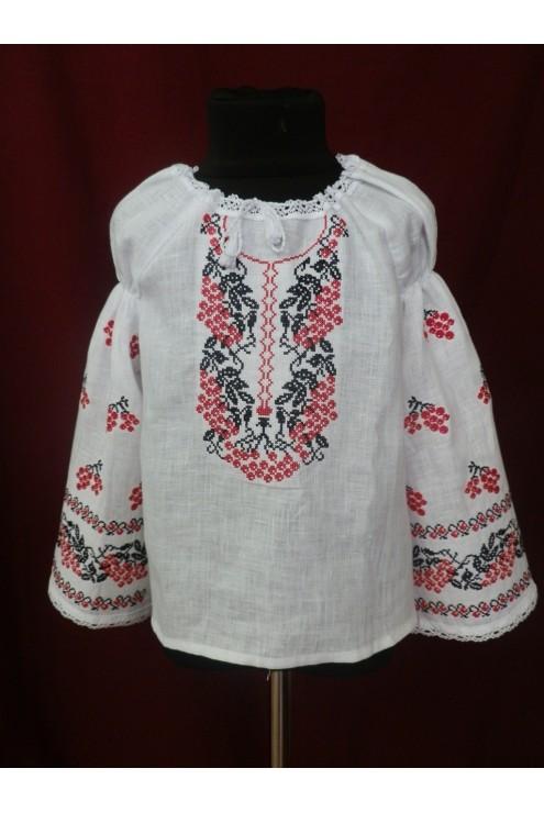 Сорочка вишиванка для дівчинки Червона калина фото