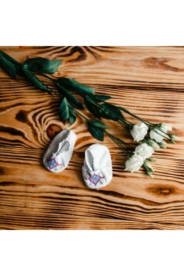 Пинетки вышитые для крещения ХП 06 фото