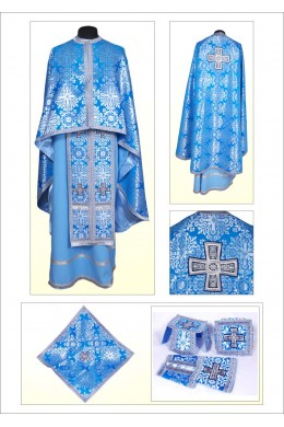 Одеяние для священников Ф101 серебро с голубым фото