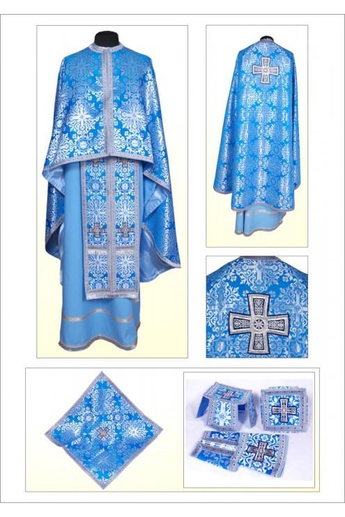 Вбрання для священиків Ф101 сріблясто голубе фото