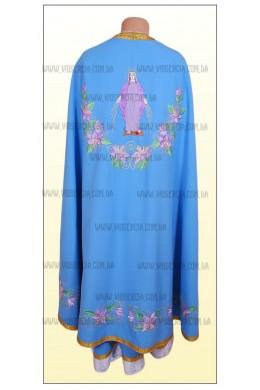 Шати для священнослужителів вишиті Ф27 голубі з рожевою лілією фото