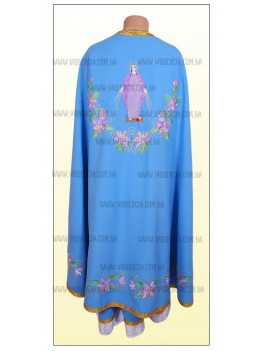 Облачение для священнослужителей вышитое Ф27 голубое с розовой лилией