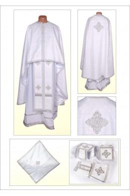 Облачение для священнослужителей Ф68 белое по белому фото
