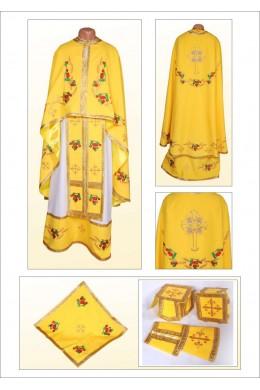 Вышитая фелонь церковная Ф84 желтая фото