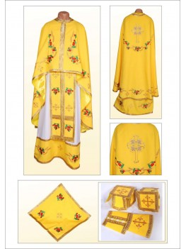 Вышитая фелонь церковная Ф84 желтая