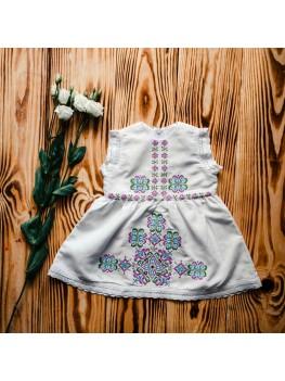 Платье украшенное вышивкой для крещения ХП 06