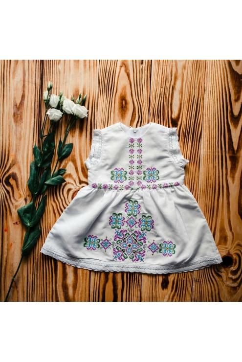 Плаття прикрашене вишивкою для хрещення ХП 06 фото