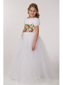 Плаття з вишивкою для причастя ПФ 14