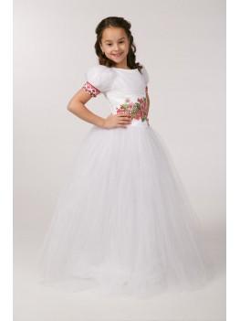 Сукня з вишивкою для причастя ПФ 15