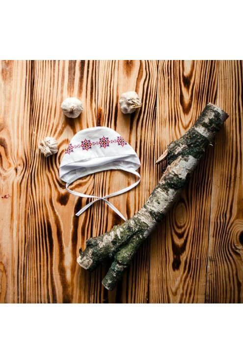 Шапочка для хрещення з вишивкою ХК 03 фото