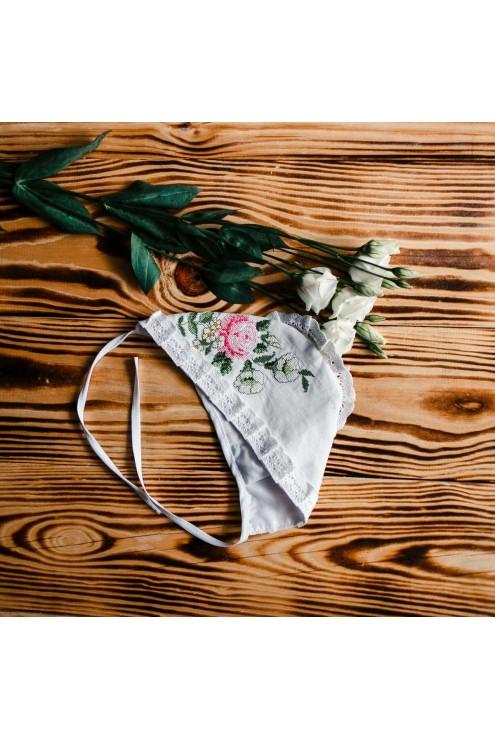 Шапочка для дівчинки для хрещення ХП 01 фото