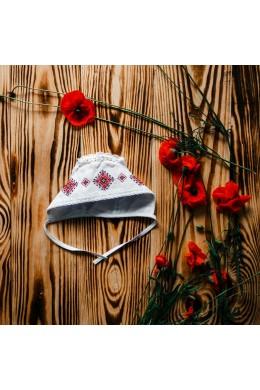 Шапочка з вишивкою для хрещення ХП 09 фото