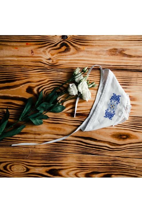 Шапочка для хрещення прикрашена вишивкою ХП 11 с фото