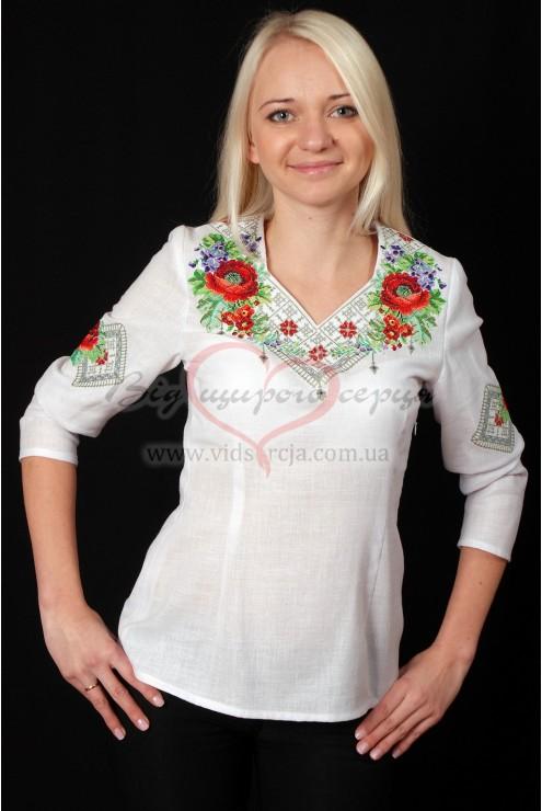 Жіноча сорочка вишита Мак з фіалкою 29 фото