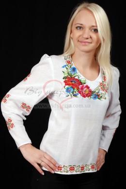 Вишита сорочка жіноча Мак з волошкою 30 фото
