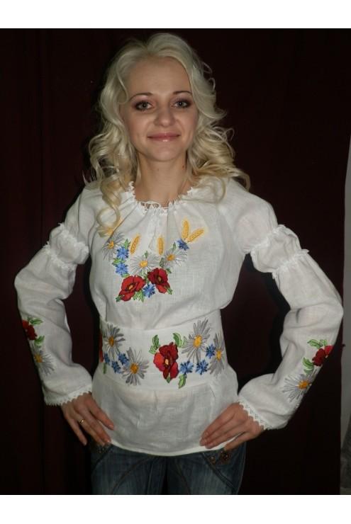 Жіноча вишита сорочка Маки і ромашки 28 фото