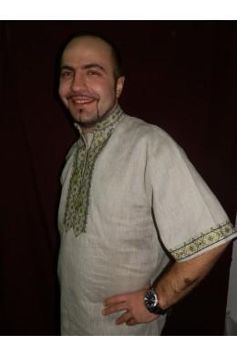Рубашка мужская национальная Зеленое буйство фото
