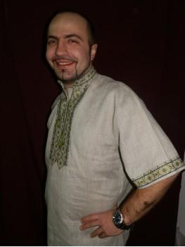 Рубашка мужская национальная Зеленое буйство