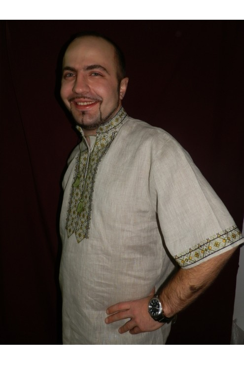 Сорочка чоловіча національна Зелений розмай фото