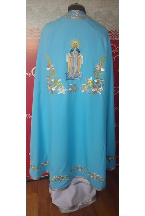 Фелон для священнослужителя з машинною вишивкою Ф24П голубий